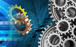 3d mechanic. 3d illustration of gears over binary background with mechanic Stock Photography
