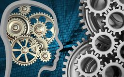 3d mechanic. 3d illustration of gears over binary background with mechanic Royalty Free Stock Photo