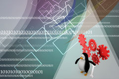 3D mechanic penguin with tools Illustration Stock Photography