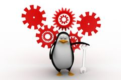 3D mechanic penguin with tools Stock Photos