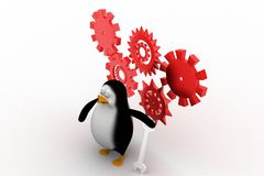3D mechanic penguin with tools Royalty Free Stock Photos