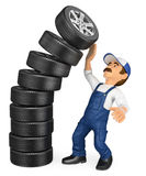 3D Mechanic with a pile of tires falling on top. Work accidents Stock Photo