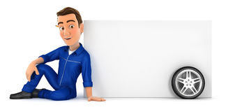 3d mechanic sitting next to blank wall Royalty Free Stock Images