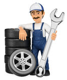3D Mechanic with a stack of tyres and a huge wrench Stock Images
