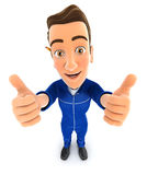 3d mechanic thumbs up Stock Photo