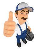 3D Mechanic with a wheel and thumb up. 3d working people illustration. Mechanic with a wheel and thumb up. White background Royalty Free Stock Images