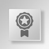 3D Medal icon Business Concept. 3D Symbol Gray Square Medal icon Business Concept Stock Photography