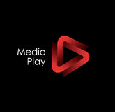 3D media play logo design. Vector illustration Royalty Free Stock Image
