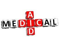 3D Medical Aid Crossword Block Button text Stock Images