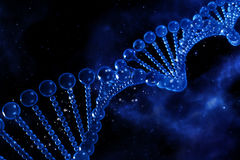 3D medical background with DNA strands. Against a space sky Royalty Free Stock Image