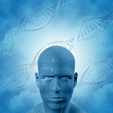 3D medical background with DNA strands and male face Stock Photos