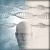 3D medical background with DNA strands and male face with some i Royalty Free Stock Photos