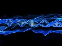 3D medical background with DNA strands. 3D render of a medical background with DNA strands Stock Photo