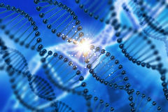 3D medical background with DNA strands. 3D render of a medical background with DNA strands Stock Images
