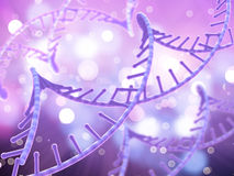 3D Medical background with DNA strands. 3D render of a medical background with DNA strands Royalty Free Stock Photo