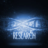 3D medical background with DNA strands. And the word research Royalty Free Stock Photo