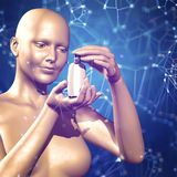 3d medical background with a female figure holding medicine.  Royalty Free Stock Images