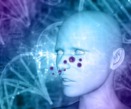 3D medical background with female head and fictional allergy vir. 3D render of a medical background with female head and fictional allergy virus cells Stock Photo