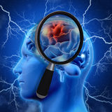 3D medical background with magnifying glass examining brain Stock Images