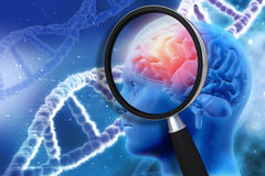 3D medical background with magnifying glass examining brain. Depicting alzheimers research vector illustration