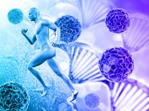 3D medical background with male figure running on virus cells. 3D render of a medical background with male figure running on virus cells Stock Photos