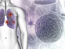 3D medical background showing virus cells in male figures lungs Stock Photo