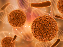 3D medical background with various virus cells Stock Photos