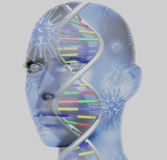 3D medical concept image. With female face and DNA strands Stock Photography