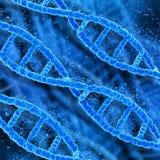 3D medical DNA background. 3D medical background with DNA strands pixelating Stock Images