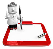 3D medical doctor checking on the red chart. 3D Square Man Serie Stock Image