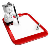 3D medical doctor checking on the red chart. 3D Square Man Serie Royalty Free Stock Photo