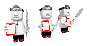 3d medical doctor checking on the red chart. 3D Square Man Serie Royalty Free Stock Images