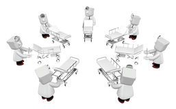 3d medical doctor in the hospital with metal bed. 3D Square Man Stock Photos