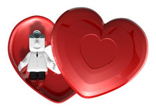 3d medical doctor lying in red heart box. 3D Square Man Series. Stock Photos