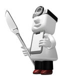 3d medical doctor standing to take their knife and chart. 3D Squ Royalty Free Stock Photography