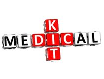 3D Medical Kid Crossword Block Button text. Over white background Stock Photos