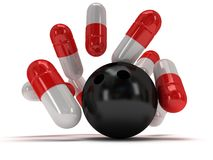 3d medical pills strike with bowling ball Royalty Free Stock Image