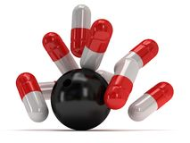 3d medical pills strike with bowling ball Royalty Free Stock Images