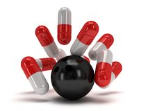 3d medical pills strike with bowling ball. On white. Pills, drugs, medicine, healthcare concept Royalty Free Stock Photo
