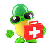 3d Medicine capsule with first aid kit Royalty Free Stock Photo