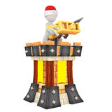 3d medieval soldier with a cross bow. 3d medieval soldier wearing a Christmas hat with a cross bow standing on the ramparts defending a castle during medieval Royalty Free Stock Images