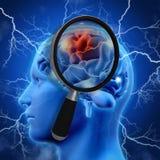 3D medische achtergrond die met vergrootglas hersenen onderzoeken Stock Afbeeldingen