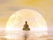 3D meditatie van Boedha - geef terug Stock Afbeelding