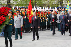 D.Medvedev, V.Putin at ceremony of wreath laying Royalty Free Stock Images