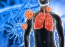 3D medyczny tło z męską postacią i wirusowymi komórkami royalty ilustracja