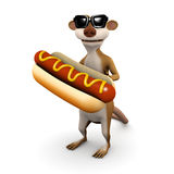 3d Meerkat hotdog Royalty Free Stock Image