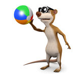 3d Meerkat plays with a beachball Royalty Free Stock Image
