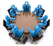 3d meeting business people - session behind a round table. In the design of the information related to a business meeting Stock Photo