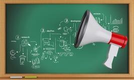 3d megafon i blackboard z kreatywnie proces nakreśleniem royalty ilustracja