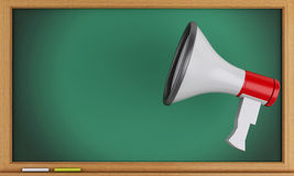 3d megaphone with empty blackboard. 3d renderer image. Empty blackboard with megaphone Stock Image
